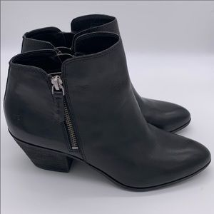 Frye Judith Double Zip Black Chunky Heel Booties 7